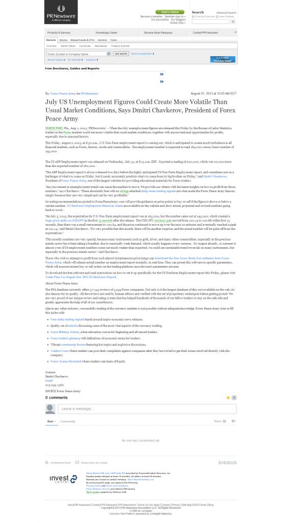 Dmitri Chavkerov _FinancialContent – PR Newswire 2