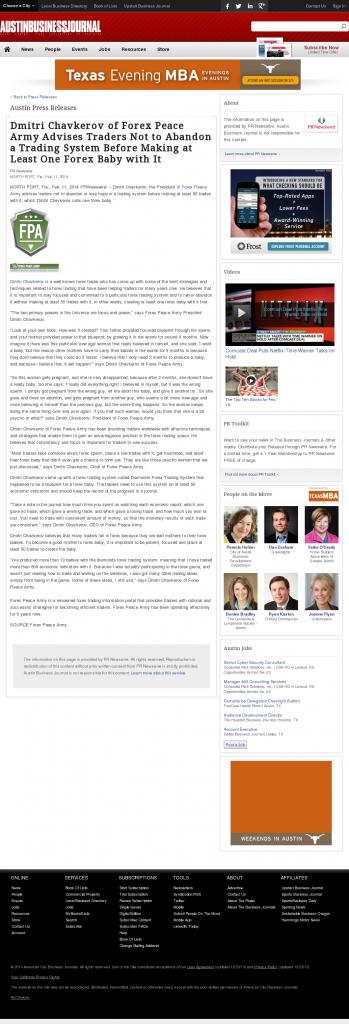 Dmitri Chavkerov - Austin Business Journal- Forex Baby Abortion