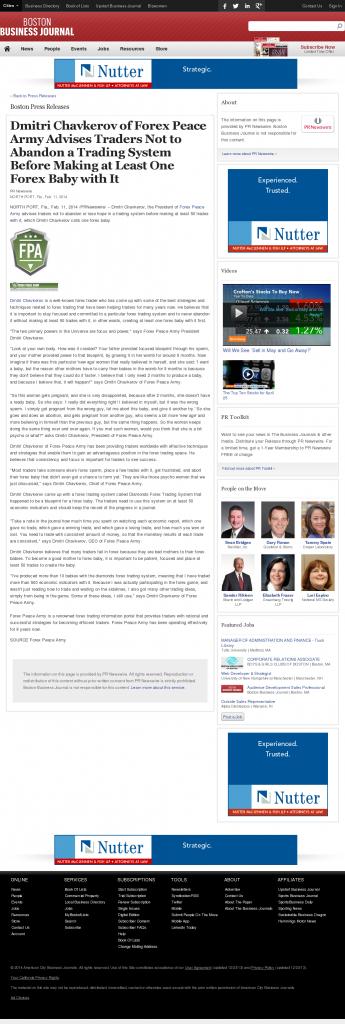 Dmitri Chavkerov - Boston Business Journal- Forex Baby Abortion