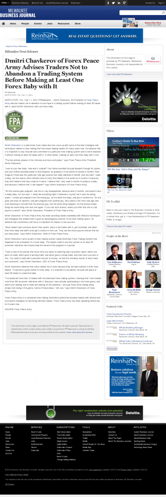 Dmitri Chavkerov - Business Journal of Greater Milwaukee- Forex Baby Abortion