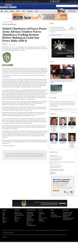 Dmitri Chavkerov - Business Journal of Phoenix- Forex Baby Abortion