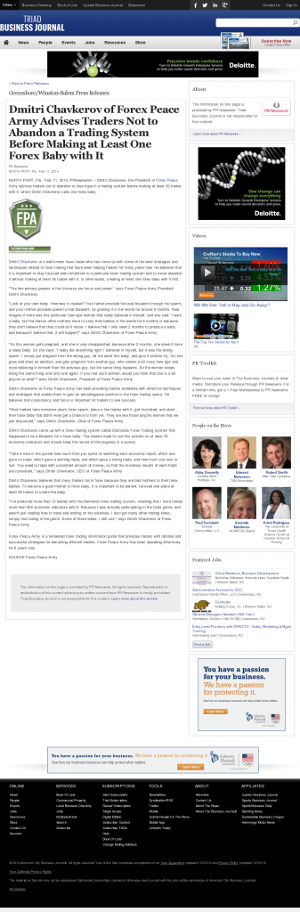 Dmitri Chavkerov - Business Journal of the Greater Triad Area- Forex Baby Abortion