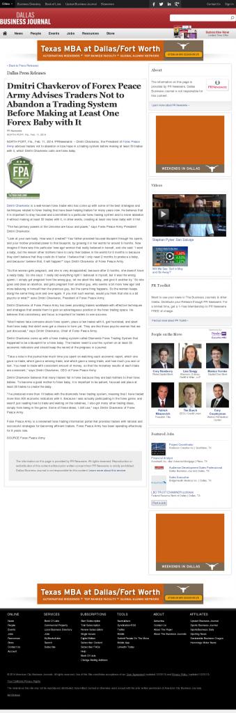 Dmitri Chavkerov - Dallas Business Journal- Forex Baby Abortion