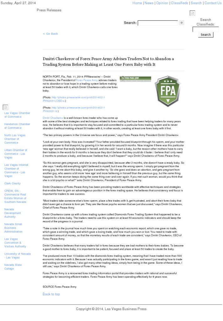 Dmitri Chavkerov - Las Vegas Business Press- Forex Baby Abortion