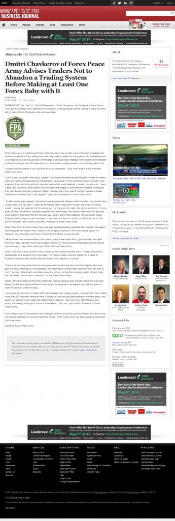 Dmitri Chavkerov - Minneapolis / St. Paul Business Journal- Forex Baby Abortion