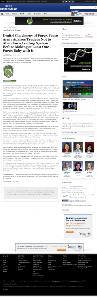 Dmitri Chavkerov - Pacific Business News- Forex Baby Abortion