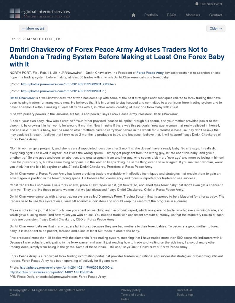 Dmitri Chavkerov - R-Global- Forex Baby Abortion