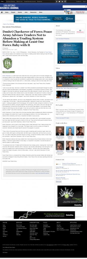Dmitri Chavkerov - San Antonio Business Journal- Forex Baby Abortion