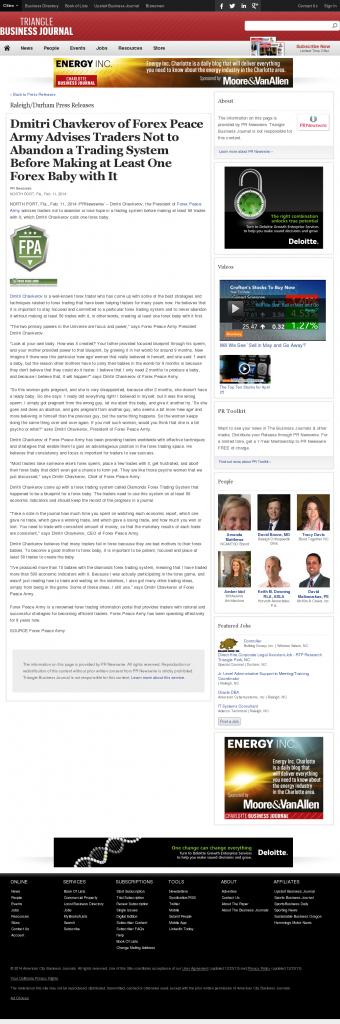 Dmitri Chavkerov - Triangle Business Journal- Forex Baby Abortion