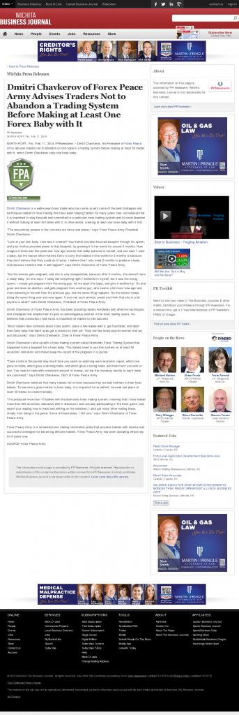 Dmitri Chavkerov - Wichita Business Journal- Forex Baby Abortion